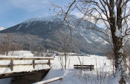 Blick auf den Rauschberg im verschneiten Ruhpolding